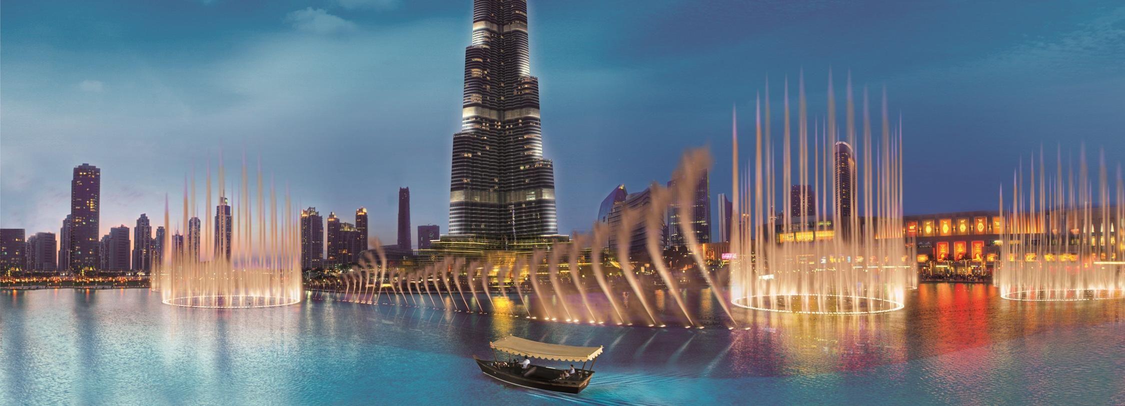Dubaï: spectacle de fontaines et balade en bateau sur lac
