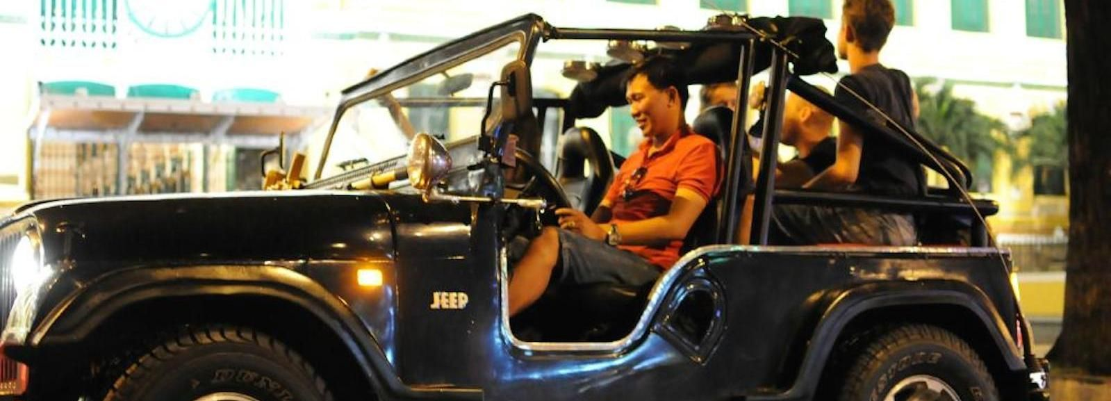 Private Jeep Tour Saigon by Night & Cruise Dinner with Music