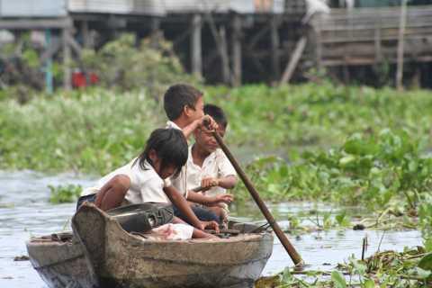 Siem Reap:la campagne à vélo et village flottant