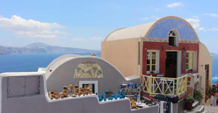 Autobús a Santorini y crucero al atardecer en Caldera
