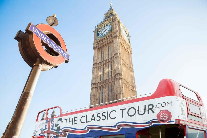 London: Bustour mit einem Oldtimer mit offenem Dach