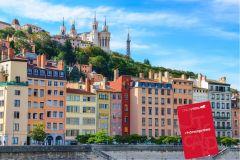 Cartão da cidade de Lyon com transporte para o aeroporto
