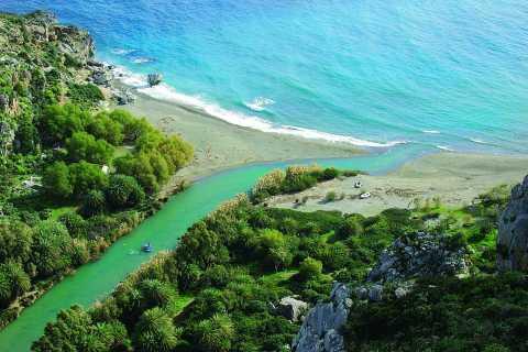 From Rethymno: Damnoni & Preveli Palm Beach Small Group Tour