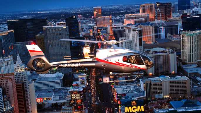 Helicopter Flight at Night over the Las Vegas Strip
