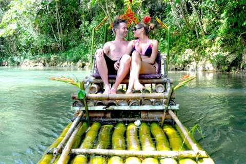 Couples Bamboo Rafting Great River Jamaica
