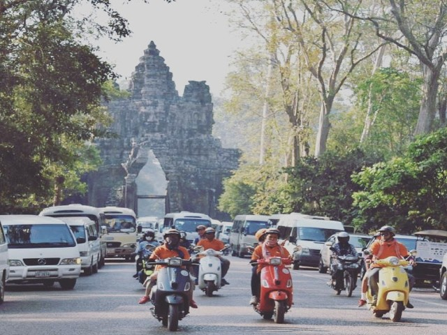 Angkor Tour on a Vespa Scooter