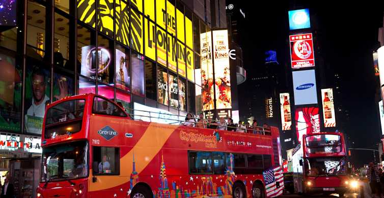 New York City: Nachttour per bus en toegang tot 1 attractie