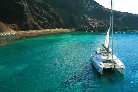 Santorini: Private Catamaran Sailing with BBQ Meal & Drinks