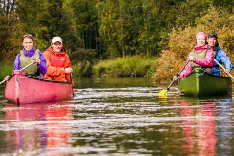 Lapland: Canoeing Trip with Reindeer and Husky Farm Tour