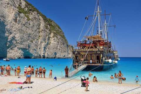 Zante: spiaggia di Navagio e tour dell'isola su nave pirata