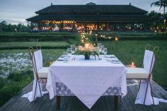 Ubud: jantar romântico entre os campos de arroz