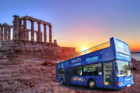 Athens: Blue Hop-on-Hop-off Bus and Cape Sounion Sunset Tour