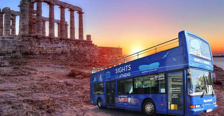 Athens: Blue Hop-on-Hop-off Bus and Cape Sounion Sunset Tour