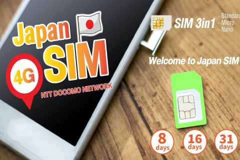 Japan: SIM Card with Unlimited Data for 8, 16, or 31 Days