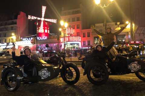 Paris: Tour de sidecar romantique de nuit avec champagne