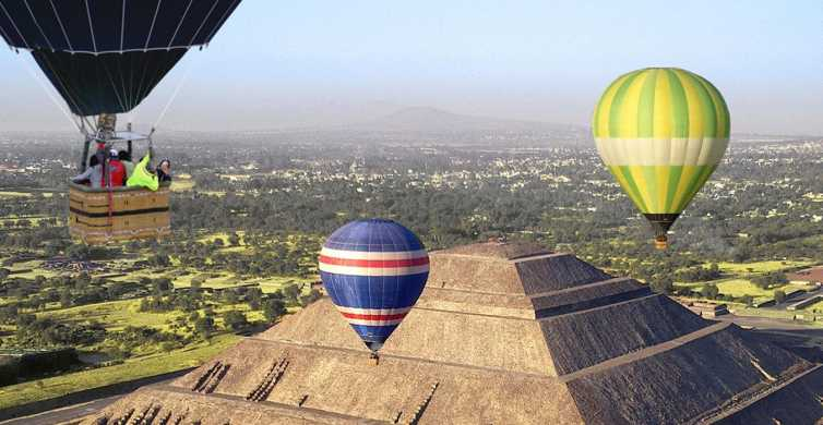 From Mexico City: Hot Air Balloon & Walking Teotihuacan Tour