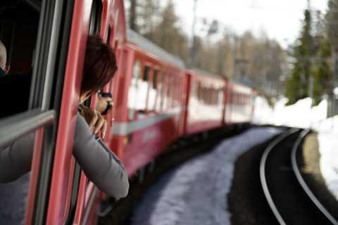 Tirano to St. Moritz: Bernina Red Train Return Day-Ticket