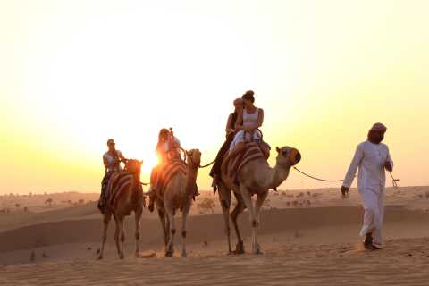 From Dubai: Sunset Camel Trek with Shows & BBQ at Al Khayma
