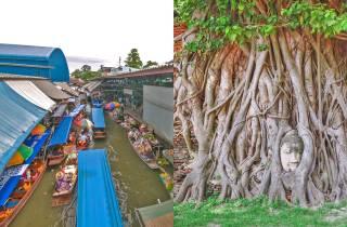 Ab Bangkok: Kombi-Tour Damnoen Saduak & Ayutthaya