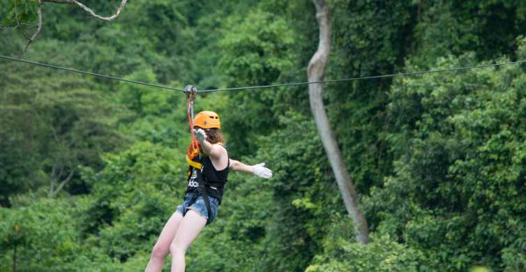 Vang Vieng: Half-Day Zip Lining with Cave Exploration Option