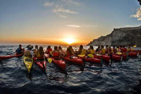 Santorini: Sunset Sea Kayak and Snorkel with Dinner