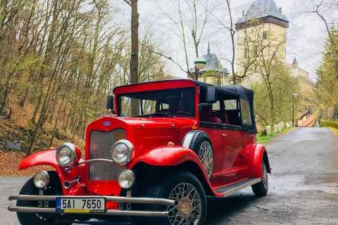 Prague: Fairytale Karlstejn Castle in Retro-Style Car