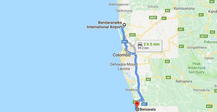 Colombo: CMB Airport to Beruwala City Private Transfer