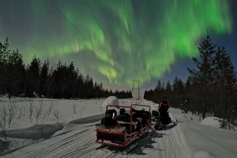 Northern Lights Sledge Ride Pulled by Snowmobile