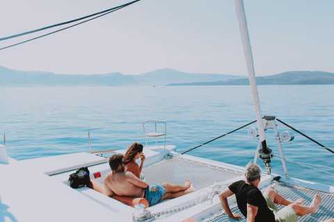 Santorini: Luxury Small Group Catamaran w/ Meal & Open Bar