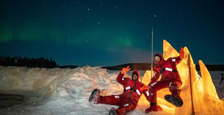 Ice Floating in Lapland With Northern Lights