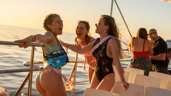 Ibiza: Sunset Boat Party with Swim Stop and Combo Ticket