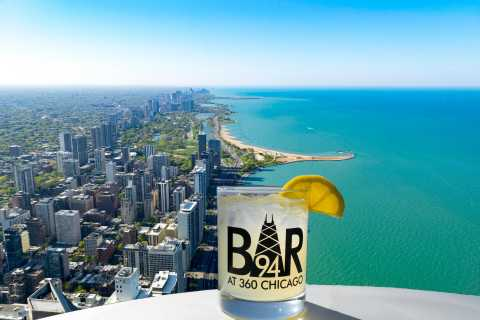 360 Chicago: Observation Deck Entry with a Drink at Bar 94