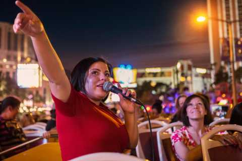 Las Vegas: Tre timmars kvällsrundtur i buss med öppet tak