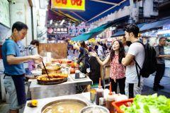 Comida de rua de Hong Kong festejando