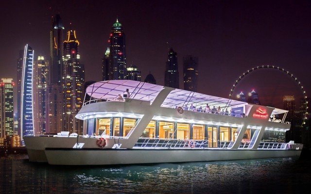 Dubai: rondvaart Marina met diner, drankjes & live muziek