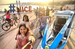 Nizza: Geführte Privatrundfahrt im elektrischen Vélotaxi
