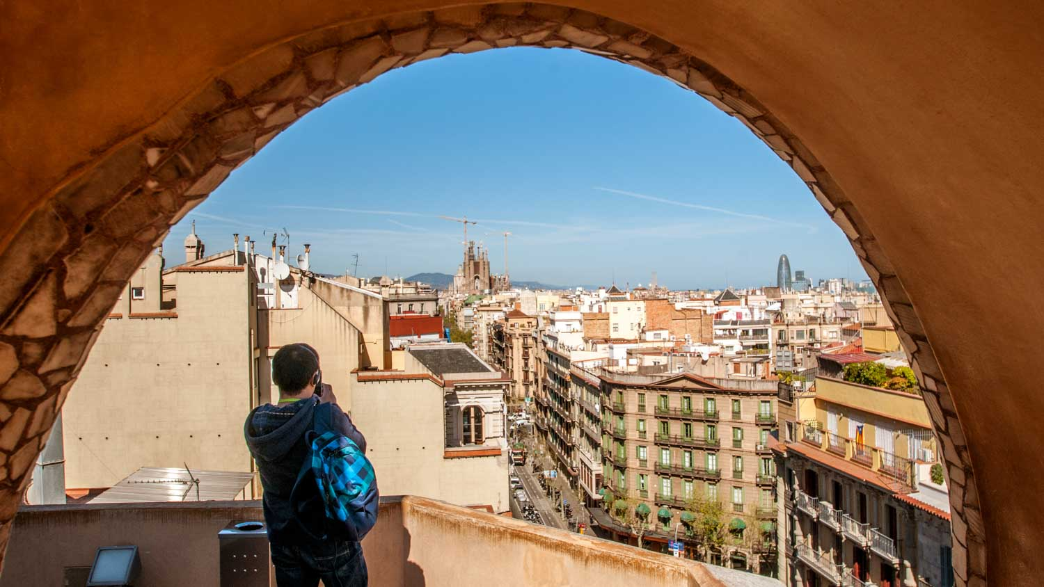 Visitors can see the Sagrada Família from the roof